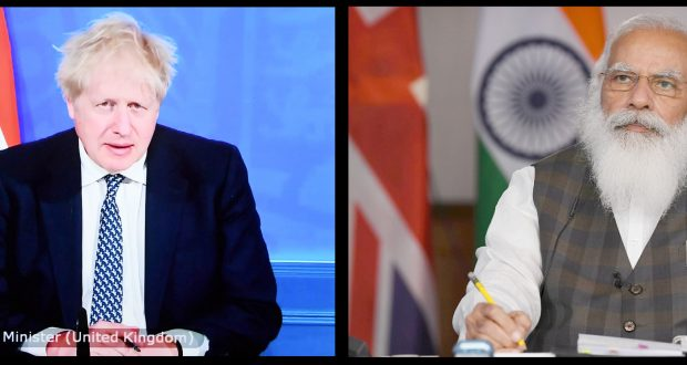 The Prime Minister, Shri Narendra Modi and the Prime Minister of the United Kingdom, Mr. Boris Johnson at the INDIA-UK Virtual Summit, in New Delhi on May 04, 2021.